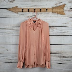 The Limited | Peach Pleated Accordion Bead Sl Top
